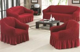 Чехол для углового дивана + кресло (1) DO&CO БОЛЬШОЙ РАЗМЕР бордо