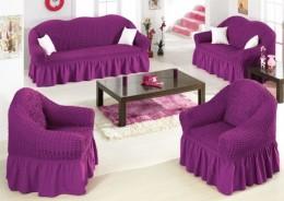 Чехлы для углового дивана (1 шт) + кресло (1 шт) Karbeltex фиолетовый