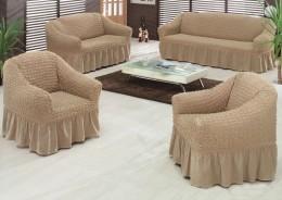 Чехлы для углового дивана (1 шт) + кресло (1 шт) Karbeltex кофе