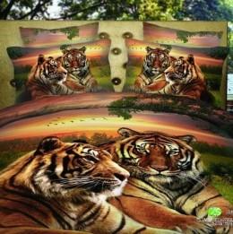 Постельное белье Павлина 3D сатин панно 2-спальное, 4 наволочки, арт. 026