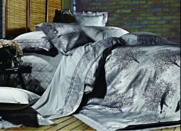 Постельное белье Famille Тенсель-жаккард с гипюром арт. TJ-10 дуэт 4 наволочки