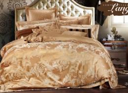 Постельное белье Valtery жаккард с вышивкой 2-спальное 4 наволочки арт. 220-124
