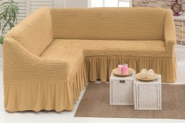 Чехол для углового дивана + кресло (1) DO&CO БОЛЬШОЙ РАЗМЕР бежевый