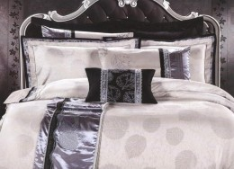 Постельное белье Valtery шелковый жаккард с вышивкой 2-спальное 4 наволочки арт. L-30