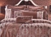Постельное белье Valtery шелковый жаккард с вышивкой 2-спальное 4 наволочки арт. L-31