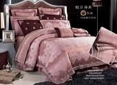 Постельное белье Valtery шелковый жаккард с вышивкой 2-спальное 4 наволочки арт. L-33