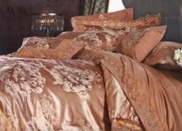 Постельное белье Famille Тенсель-жаккард с гипюром арт. TJ-15 дуэт 4 наволочки