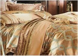 Постельное белье Valtery шелковый жаккард с вышивкой 2-спальное 4 наволочки арт. L-27