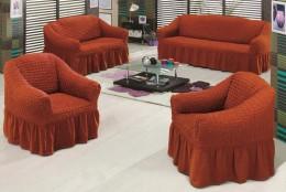 Чехлы для углового дивана (1 шт) + кресло (1 шт) Karbeltex кирпичный