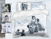 Постельное белье Mona Liza Premium Family сатин цифр. печать евро 4 наволочки арт.Penguins 5861/1