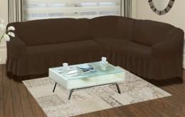 Чехлы для углового дивана (1 шт) + кресло (1 шт) Karbeltex шоколадный