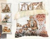 Постельное белье Mona Liza Premium Family сатин цифр. печать 2-спальный 4 наволочки арт.Foxes 5860/4