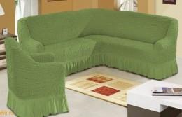 Чехол для углового дивана + кресло (1) DO&CO БОЛЬШОЙ РАЗМЕР оливковый