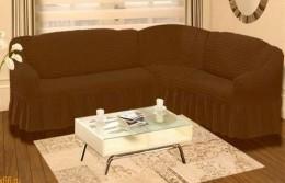 Чехол для углового дивана + кресло (1) DO&CO БОЛЬШОЙ РАЗМЕР шоколадный