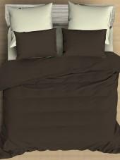 Постельное белье Amore Mio сатин однотонный 2-спальное макси на резинке 70х70 см арт. BZ QR Cappuccino
