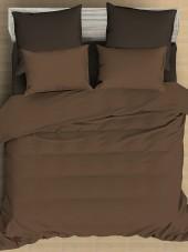 Постельное белье Amore Mio сатин однотонный 2-спальное макси на резинке 70х70 см арт. BZ QR Chocolate