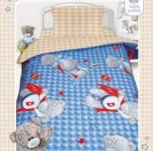 Детское постельное белье Mona Liza бязь 1,5-спальное 50х70 см Teddy DED НА ГОЛУБОМ