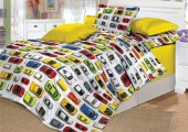 Детское постельное белье Valtery поплин 1,5-спальное 50х70 см арт. DL-8 Машинки