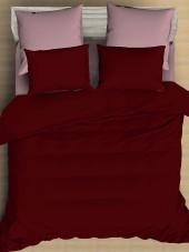 Постельное белье Amore Mio сатин однотонный 2-спальное макси на резинке 70х70 см арт. BZ QR Garnet