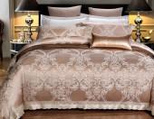 Постельное белье Valtery шелковый жаккард с вышивкой 2-спальное 4 наволочки арт. L-35