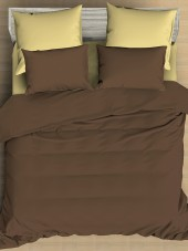 Постельное белье Amore Mio сатин однотонный 2-спальное макси на резинке 70х70 см арт. BZ QR Praline
