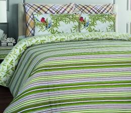 КПБ Mona Liza Essex бязь люкс 2-спальный 50х70 арт.Stripe green