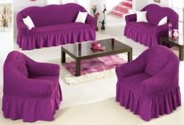 Чехол для дивана трехместный Arya двухтонный фиолетовый