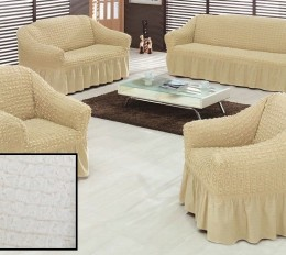 Чехлы для углового дивана + кресло (1 шт) Karbeltex ваниль
