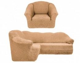 Чехол для угл. дивана + кресло (1) Karteks без оборки МЕДОВ.