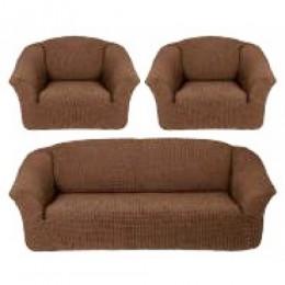 Чехлы для дивана 3-местн (1) + кресла (2) б/оборки Karteks КОРИЧН.