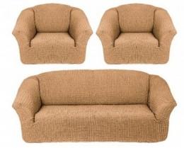 Чехлы для дивана 3-местн (1) + кресла (2) б/оборки Karteks МЕДОВЫЙ