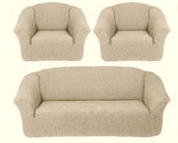 Чехлы для дивана 3-местн (1) + кресла (2) б/оборки Karteks НАТУРАЛЬН.