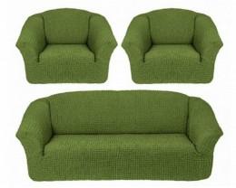 Чехлы для дивана 3-местн (1) + кресла (2) б/оборки Karteks ОЛИВК.