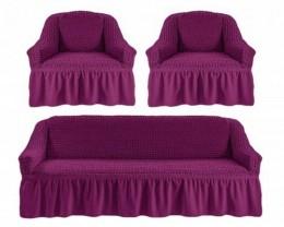 Чехол для дивана 2-3-местн. 1,8 м Karbeltex б/подлокот, с оборкой ФИОЛЕТОВ.