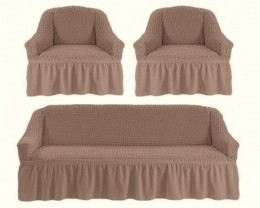 Чехлы для дивана 3-местн (1) + кресла (2) с оборкой Karteks КАКАО