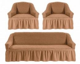 Чехлы для дивана 3-местн (1) + кресла (2) с оборкой Karteks ПЕСОЧНЫЙ