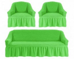 Чехлы для дивана 3-местн (1) + кресла (2) с оборкой Karteks САЛАТ.