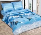 """Постельное белье Павлина арома-сатин """"Дельфины"""" 1,5-спальное 70х70 см"""