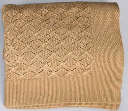 Плед Valtery вязанный ЕЛОЧКА соломенный (50% шерсть, 50% акрил) 150х200 см