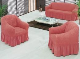 """Чехлы для дивана 2-местн. (1) + кресло (2) Karna """"Bulsan"""" грязно-роз."""