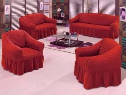 Чехлы для углового дивана + кресло (1 шт) Karbeltex каштановый