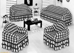 Чехлы для дивана (1 шт) + кресло (2 шт) BULSAN клетка