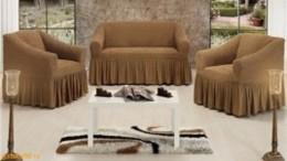 Чехлы для дивана (1 шт) + кресло (2 шт) BULSAN кофе с молоком