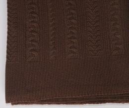 Плед Valtery вязанный  КОСА шоколад (50% шерсть, 50% акрил) 150х200 см