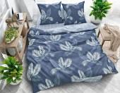 Постельное белье Svit New Line бязь ГОСТ 1,5-спальное 70х70 см арт.025-16 Стильные листья синий