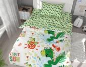 Детское постельное белье Svitweet НА РЕЗИНКЕ бязь ГОСТ 1,5-спальное 50х70 см арт.99 Веселые динозаврики