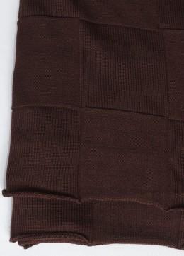 Плед Valtery вязанный КВАДРАТ шоколад (50% шерсть, 50% акрил) 175х210 см