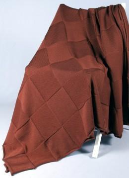 Плед Valtery вязанный КВАДРАТ темно-коричневый (50% шерсть, 50% акрил) 175х210 см
