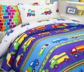 Детское постельное белье Mona Liza бязь 1,5-спальное 70х70+50х70 см МАШИНКИ