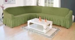 Чехол для углового дивана DO&CO оливковый